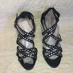 Black and Silver Strappy Heels